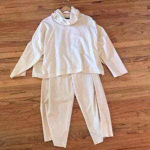 Eskandar Cashmere White Pants and Top